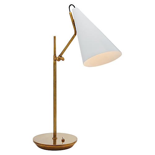 Clemente Table Lamp, White/Brass