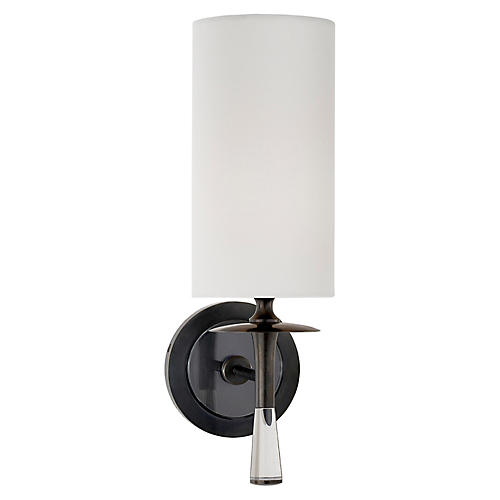 Drunmore Single Sconce, Bronze/Clear