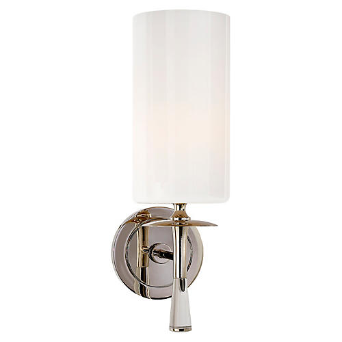Drunmore Single Sconce, Nickel/Clear/White