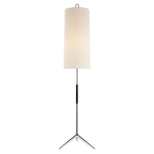 Frankfort Floor Lamp, Polished Nickel/Ebony