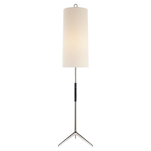 Frankfort Floor Lamp, Polished Nickel/Ebony