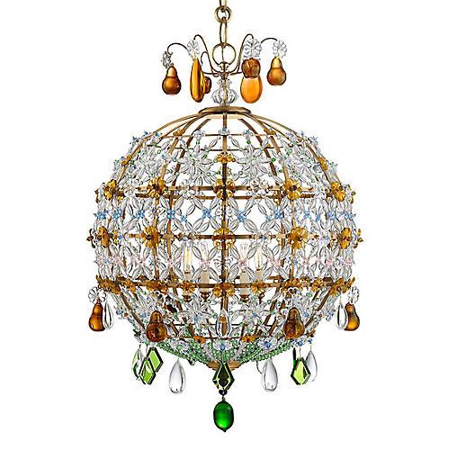 Heather Chandelier, Antiqued Brass/Emerald
