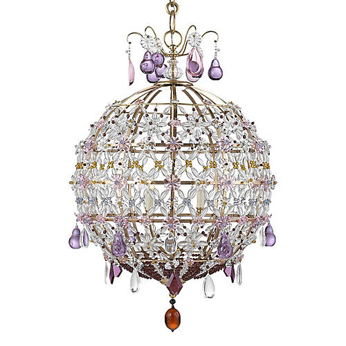 Heather Chandelier, Antiqued Brass/Amethyst