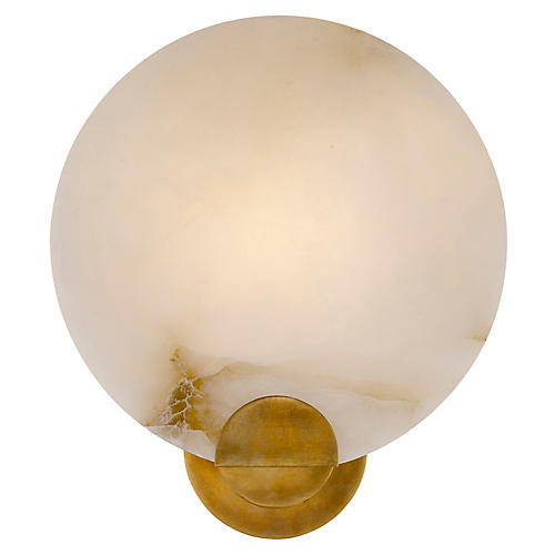 Iveala Single Sconce, Alabaster/Antiqued Brass