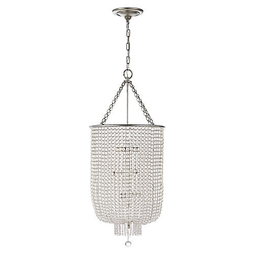 Jacqueline Long Chandelier, Silver Leaf/Clear