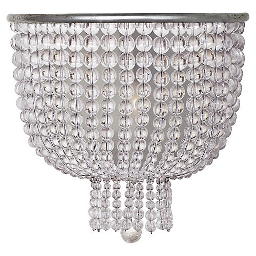 Jacqueline Medium Sconce, Silver Leaf/Clear