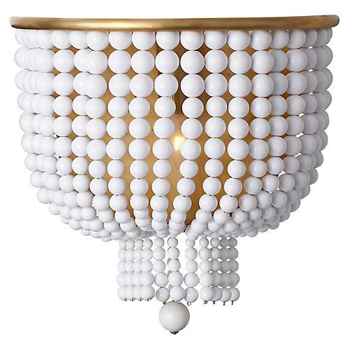 Jacqueline Medium Sconce, Antiqued Brass/White