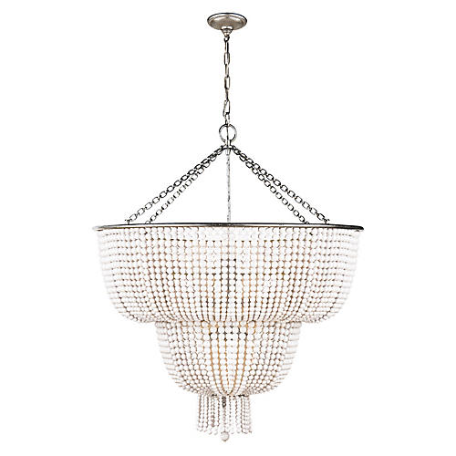 Jacqueline Two-Tier Chandelier, Silver Leaf/White