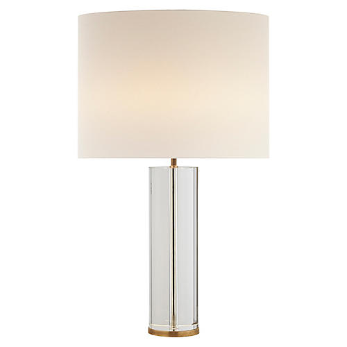 Lineham Table Lamp, Clear Crystal/Brass