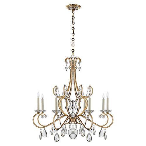 Montmartre Chandelier, Antiqued Brass