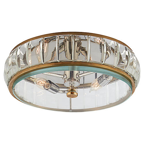Presbourg Flush Mount, Antiqued Brass/Clear