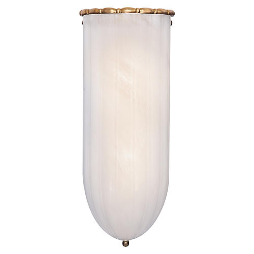 Rosehill Sconce, Antiqued Brass/White