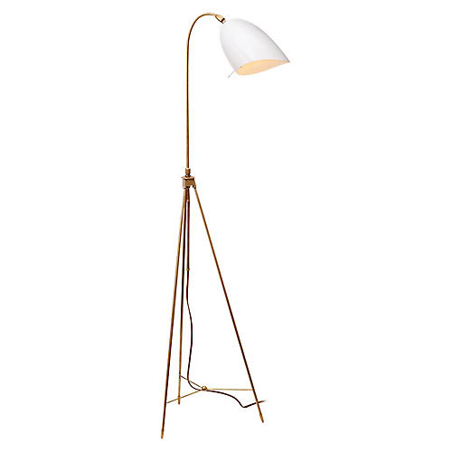 Sommerard Floor Lamp, Antiqued Brass/White
