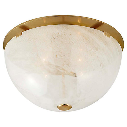 Serein Flush Mount, Antiqued Brass/White