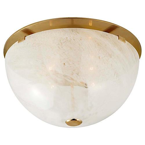 Serein Flush Mount, Antiqued Brass/White