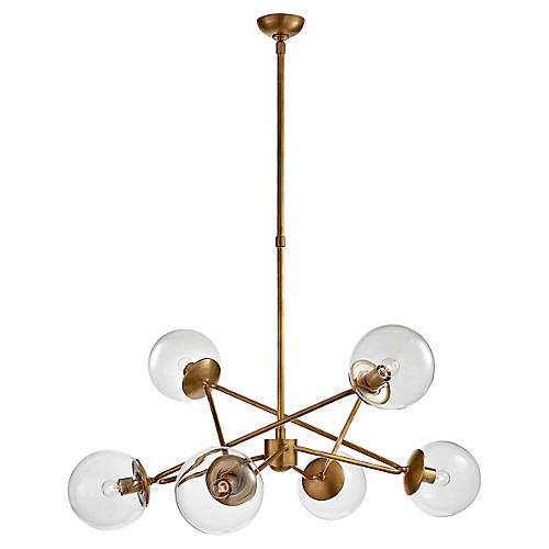Turenne Large Dynamic Chandelier, Antiqued Brass