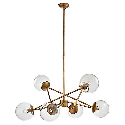 Turenne Large Dynamic Chandelier, Antiqued Brass