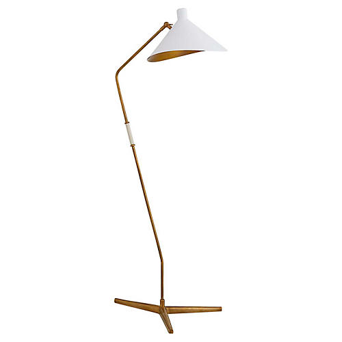 Mayotte Large Offset Floor Lamp, Brass/White