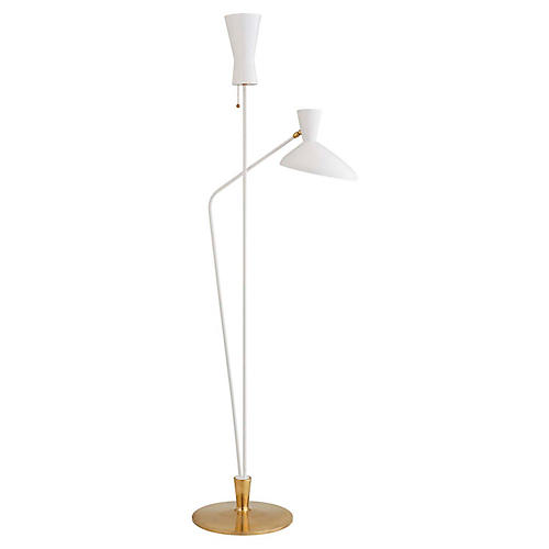 Austen Large Dual-Function Floor Lamp, White/Brass
