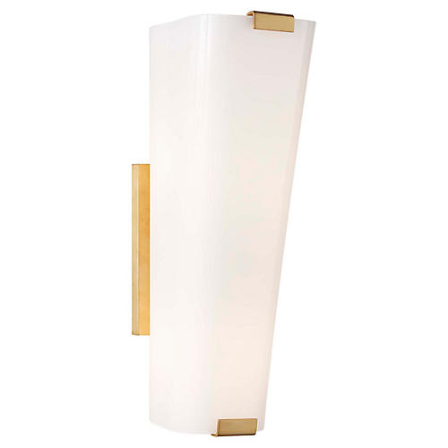 Alpine Single Sconce, Brass/White