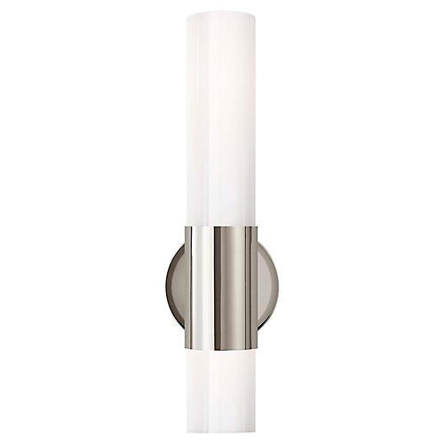 Penz Medium Cylindrical Sconce, Nickel/White