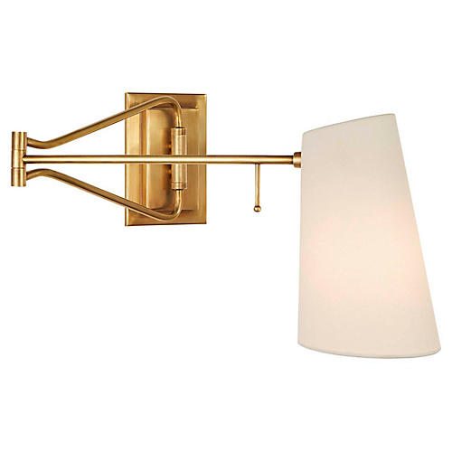 Keil Swing-Arm Sconce, Antiqued Brass