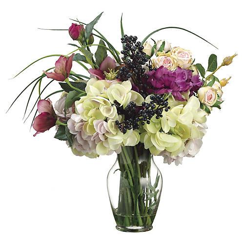 """16"""" Helleborus Bouquet in Vase, Faux"""