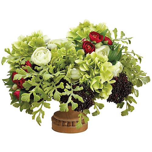 "22"" Hydrangea & Ranunculus Arrangement, Faux"