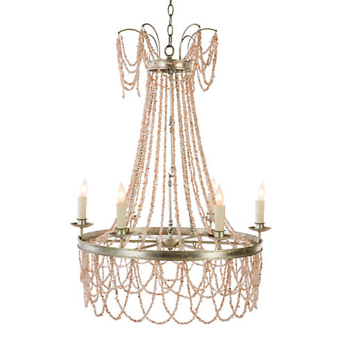 Chambers 6-Light Chandelier, Antiqued Silver/Pink