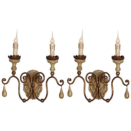 Klein 2-Light Sconce, Aged Gold