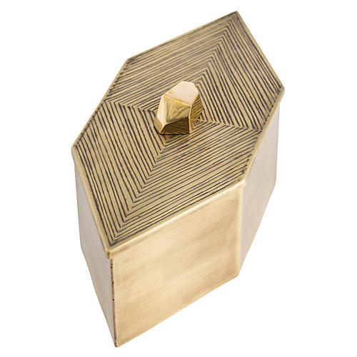 "14"" Duval Decorative Box, Brass"