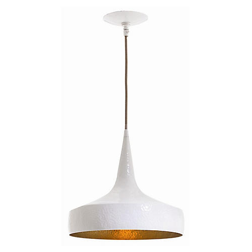 Ziggy Wide Pendant, White/Brass