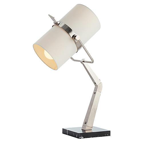 Juniper Marble Table Lamp, Silver/Black