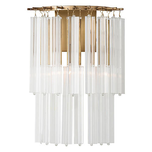 Norton Sconce, Antiqued Brass/Clear