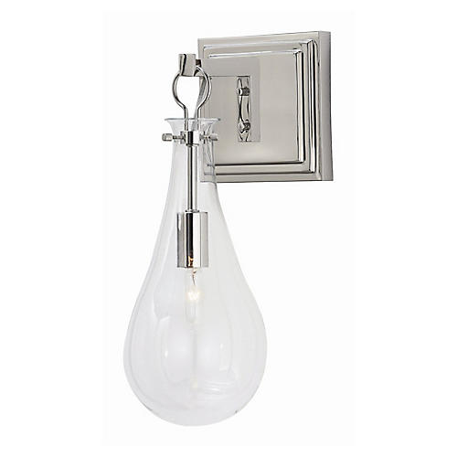 Sabine Sconce, Polished Nickel/Clear