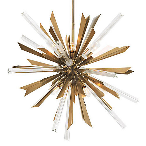 Waldorf Small Chandelier, Brass/Clear