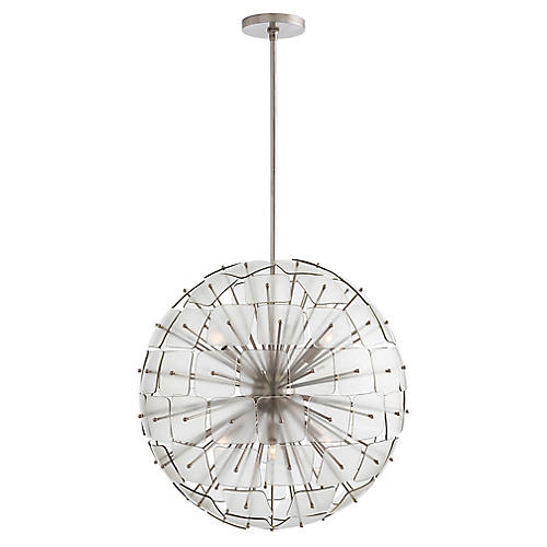 Enya Chandelier, Silver/Smoked
