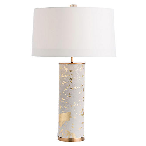 Sheena Table Lamp, Tan/Gold Leaf
