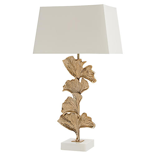 Eden Table Lamp, Brass/White