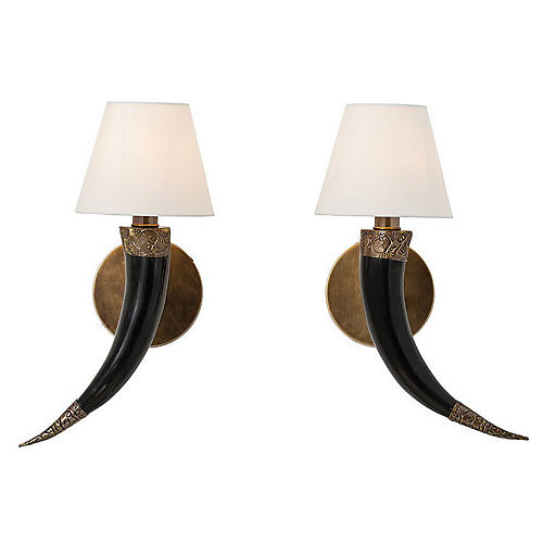 S/2 Diana Horn Sconces, Natural/Brass