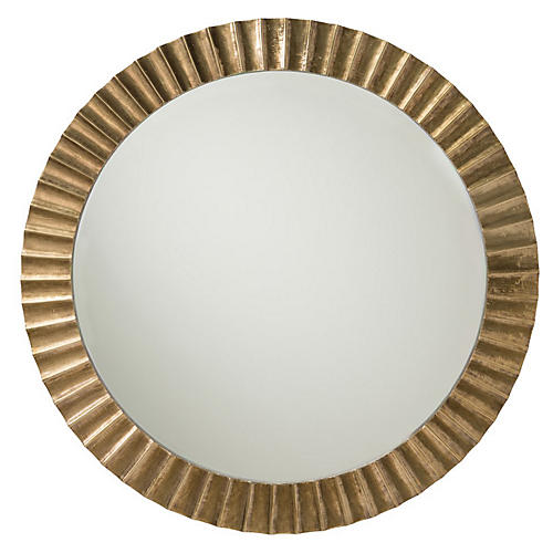 Ainsley Oversize Wall Mirror, Antiqued Brass