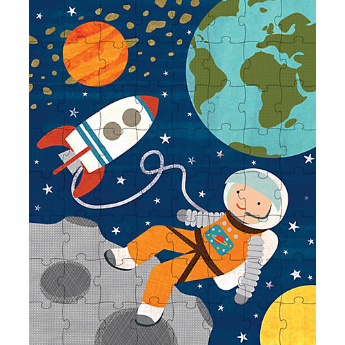 Into Space Puzzle Tin & Coin Bank, Orange/Multi