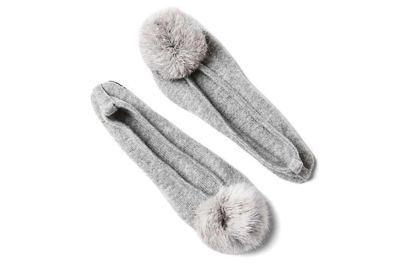 Fur Pom-Pom Slipper w/ Pouch, Gray