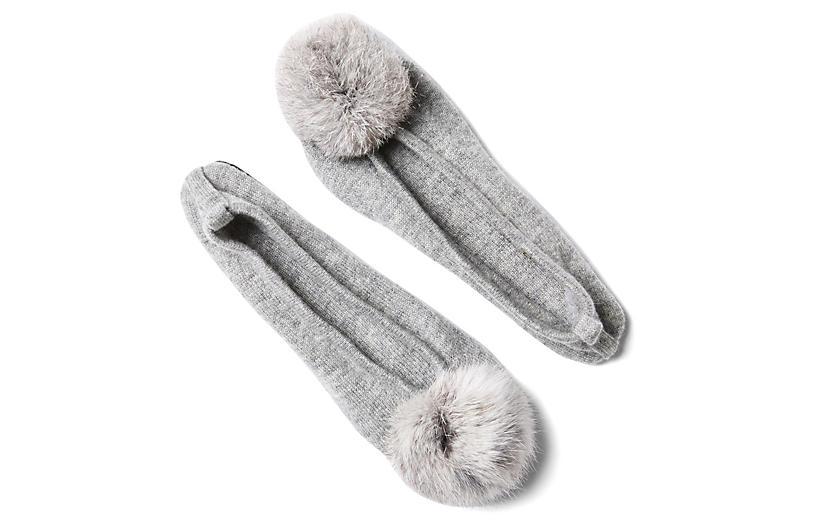 Fur Pom-Pom Slipper w/ Pouch, Gray