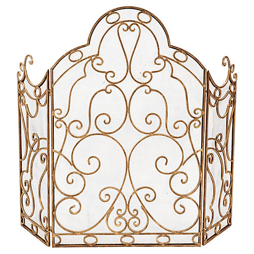 "37"" Albizzo 3-Panel Fire Screen, Gold"