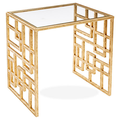 Picabia Modern Glass Side Table, Gold