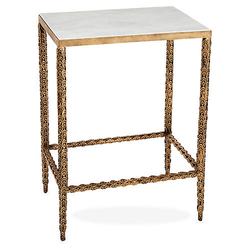 Wright Marble Side Table, Gold/White