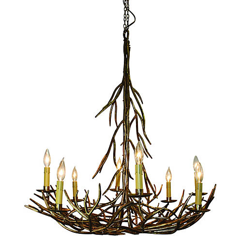 Twig 8-Light Chandelier, Italian Gold