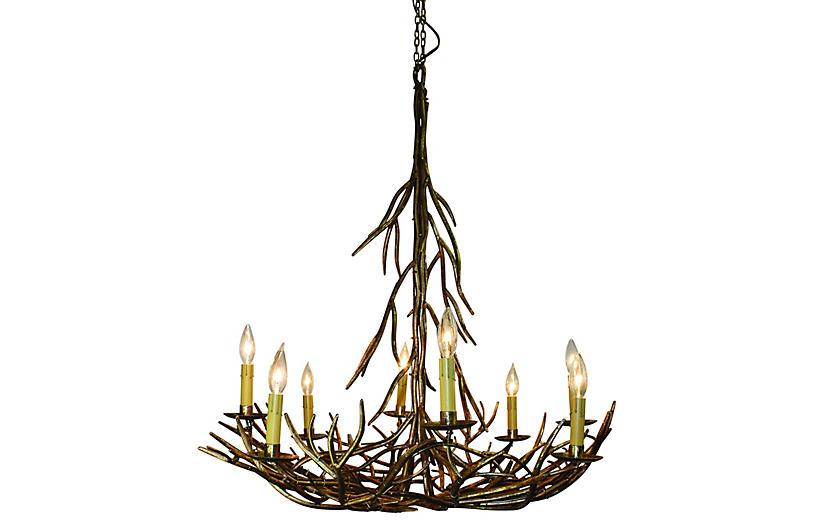 Twig 8-Light Chandelier, Italian Gold