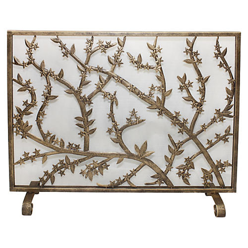 "31"" Leaves Fire Screen, Gold"